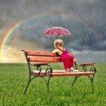 la petite fille et l'arc en ciel
