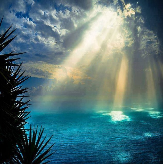 rayons soleil sur océan