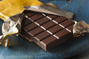 Organic Dark Chocolate Candy Bar in a Wrapper
