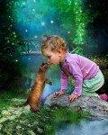 enfant bisou chat
