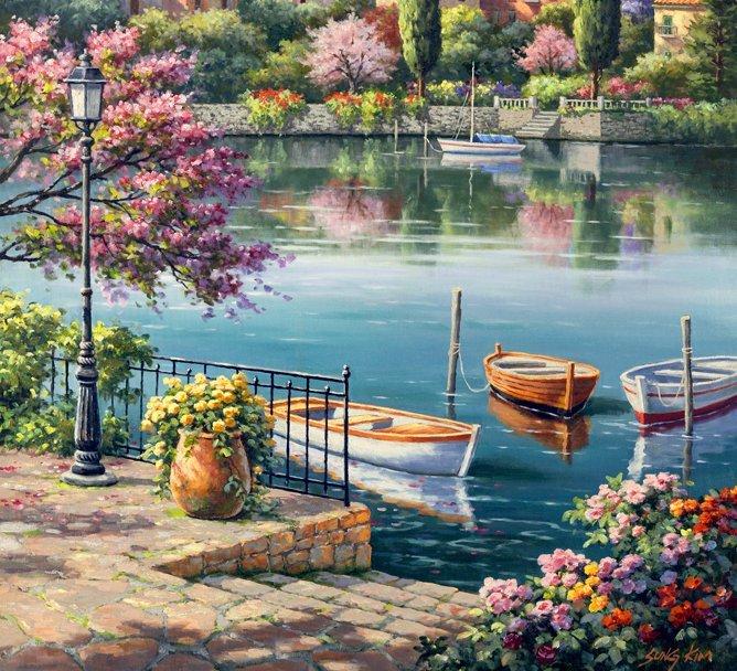 fleurs au bord le l'eau - jung kim