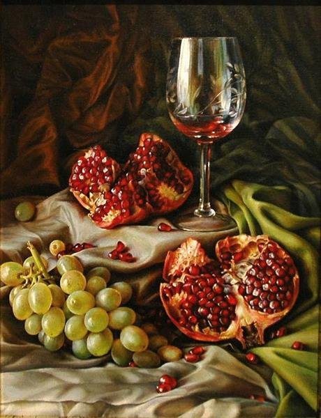 pomgrenate-still-life-paintings